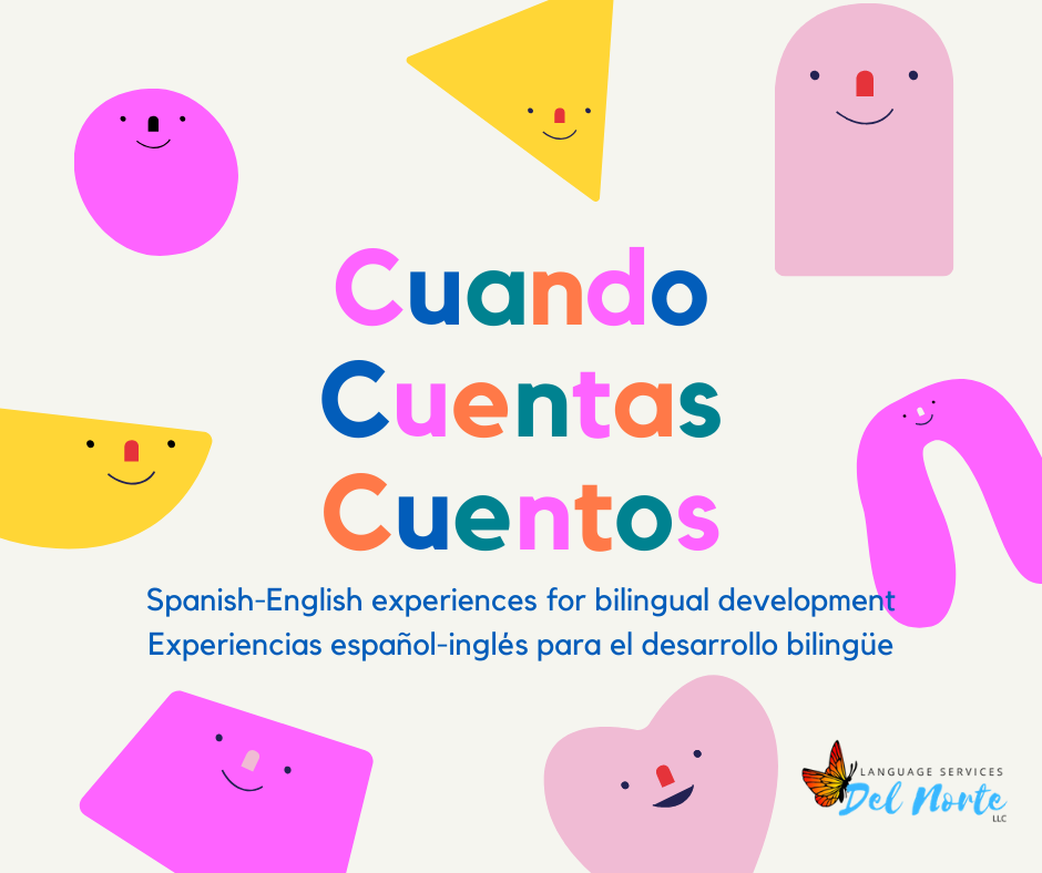 "brightly colored shapes and the text ""Cuando Cuentas Cuentos"""