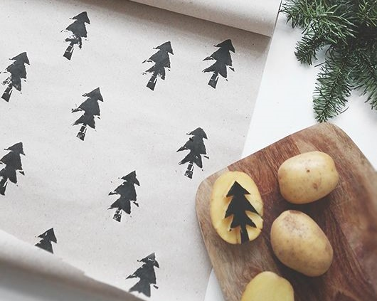 Gift wrap with potato prints and potato stamp