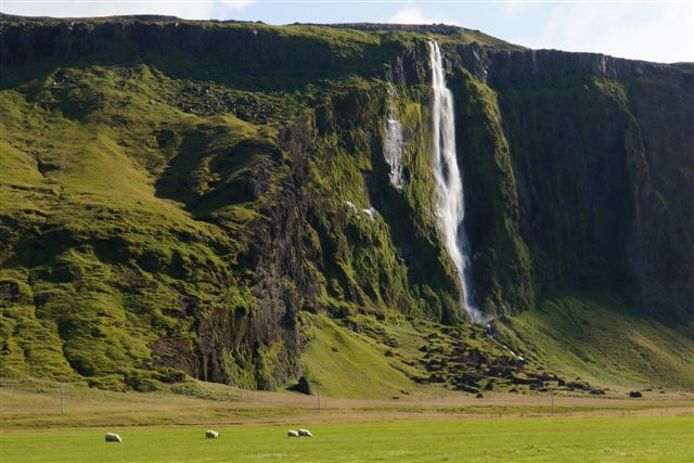 A waterfall on the south coast of Iceland near Seljavellir
