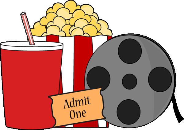 popcorn, film reel, soda and ticket